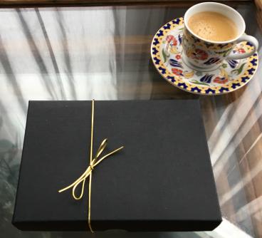 box and coffee
